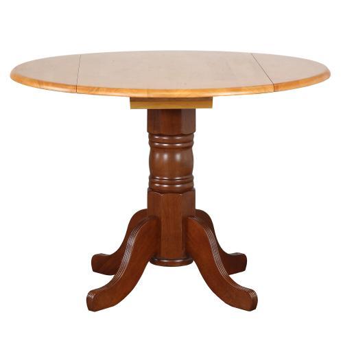 Product Image - Round Drop Leaf Dining Table - Nutmeg with Light Oak Finish