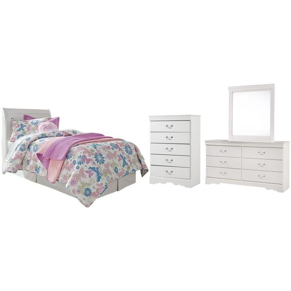 See Details - Twin Sleigh Headboard With Mirrored Dresser and Chest