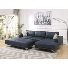 Grant 2pc Sectional Sofa Set, Ink Blue Leatherette