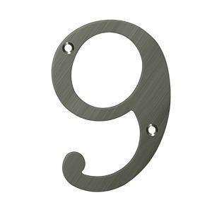 "Deltana - 6"" Numbers, Solid Brass - Antique Nickel"