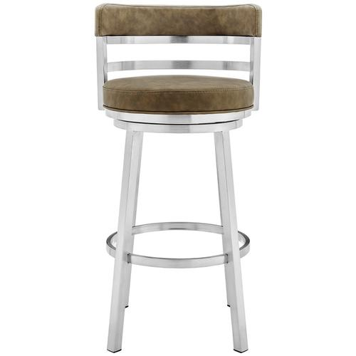 """Armen Living - Madrid Contemporary 26"""" Counter Height Barstool in Brushed Stainless Steel Finish and Green Faux Leather"""