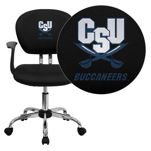 Charleston Southern University Buccaneers Embroidered Black Mesh Task Chair with Arms and Chrome Base