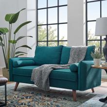Revive Upholstered Fabric Loveseat in Teal