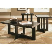 3PC CAPPUCCINO FINISH WOOD C/E TABLE SET