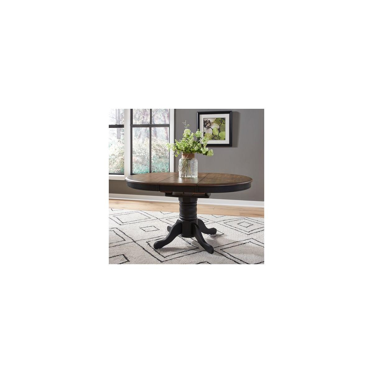 Pedestal Table Set- Black