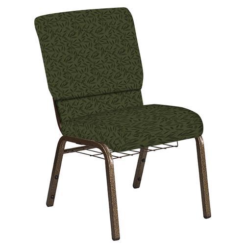 Flash Furniture - 18.5''W Church Chair in Jasmine Fern Fabric with Book Rack - Gold Vein Frame