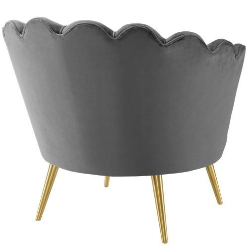 Admire Scalloped Edge Performance Velvet Accent Armchair in Gray