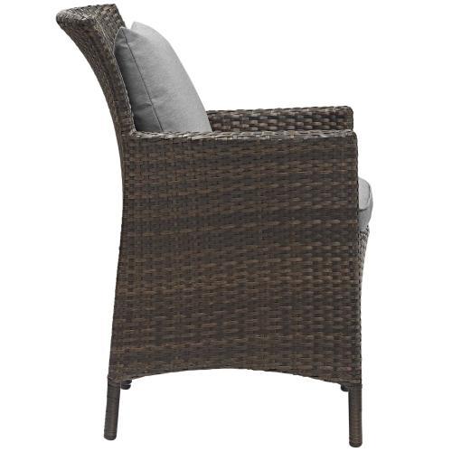 Conduit 5 Piece Outdoor Patio Wicker Rattan Set in Brown Gray