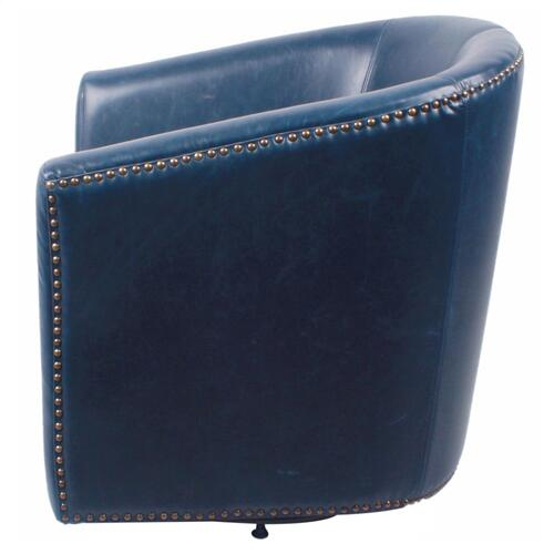 Product Image - Ernest Bonded Leather Swivel Accent Arm Chair, Vintage Blue