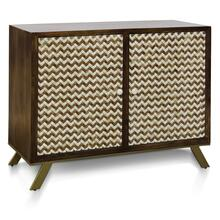 CARSON CABINET  45in w. X 35in ht. X 18in d.  Solid Mango Wood Two Door Cabinet with Bone Inlay Ch