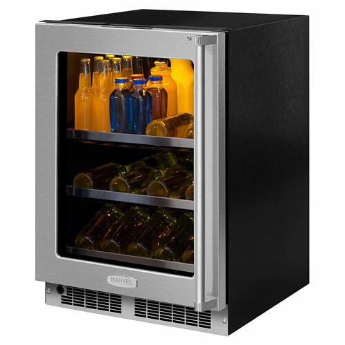 24-In Professional Built-In Beverage Center with Door Style - Stainless Steel Frame Glass, Door Swing - Left