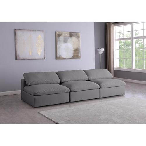 """Meridian Furniture - Serene Linen Deluxe Cloud Modular Down Filled Overstuffed 117"""" Armless Sofa - 117"""" W x 40"""" D x 32"""" H"""