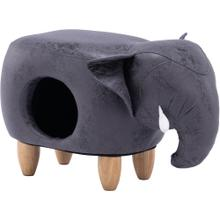 See Details - Critter Sitters 16-In. Seat Height Dark Gray Elephant Pet House Ottoman Furniture for Nursery, Bedroom, Playroom, Living Room Decor, CSELEPET-DKGRY
