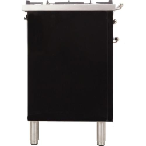 Nostalgie 30 Inch Dual Fuel Natural Gas Freestanding Range in Glossy Black with Chrome Trim