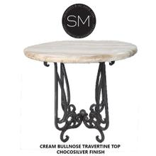 """View Product - Bar Table Ideas, Furniture with Natural Travertine Stone- 1240E - 38"""" / Peach Chiseled / Chocolate Espresso"""