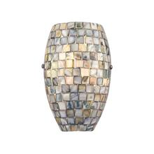 Capri 1-Light Sconce in Satin Nickel with Glass / Gray Capiz Shells
