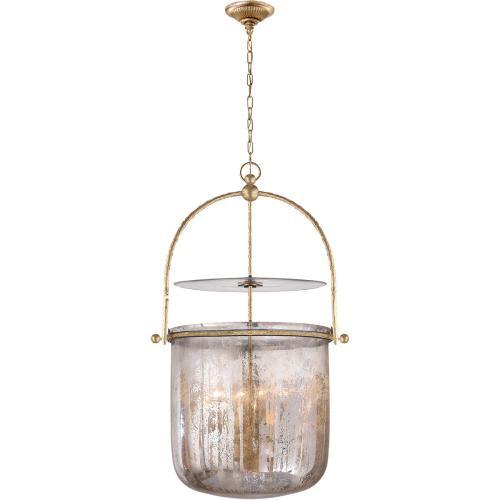 Visual Comfort CHC2270GI-MG E. F. Chapman Lorford 4 Light 20 inch Gilded Iron Foyer Pendant Ceiling Light in Distressed Mercury Glass
