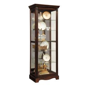 Carved 5 Shelf Mirrored Curio Cabinet in Cherry Brown