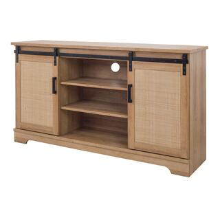 """See Details - Newman KD 58.5"""" Rattan TV Stand, Natural Oak(ASSEMBLY REQUIRED)"""
