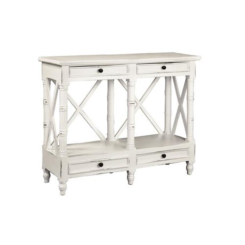 CC-TAB1023LD-WW  X Console Table  4 Drawers  Shelf  Distressed White