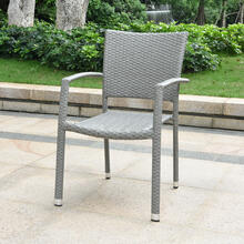 Barcelona Resin Wicker/ Aluminum Square Back Outdoor Stackable Armchair - Grey