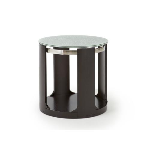 Croften Cracked Glass Round End Table 15mm