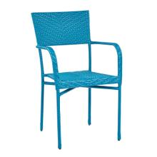 Resin Wicker Outdoor Arm Chair - Blue