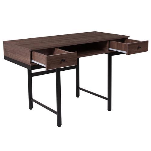 Flash Furniture - Bartlett Dark Ash Wood Grain Finish Computer Desk with Drawers and Black Metal Legs