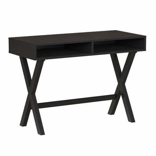 Gallery - Home Office Writing Computer Desk with Open Storage Compartments - Bedroom Desk for Writing and Work, Black