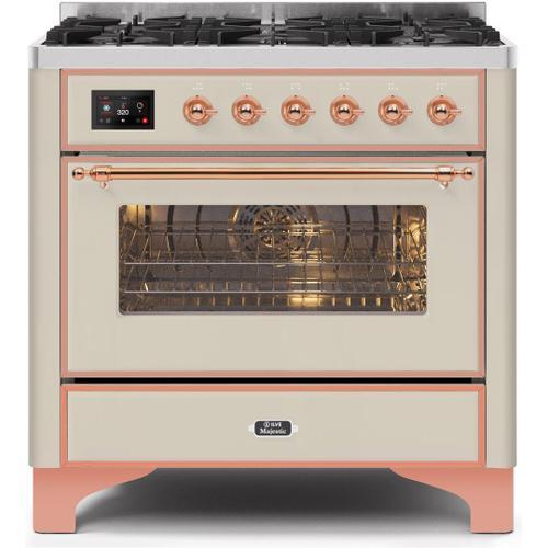 Ilve - Majestic II 36 Inch Dual Fuel Liquid Propane Freestanding Range in Antique White with Copper Trim