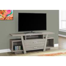 """See Details - TV STAND - 60""""L / DARK TAUPE WITH 2 STORAGE DRAWERS"""