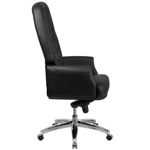 Gallery - High Back Traditional Tufted Black LeatherSoft Multifunction Executive Swivel Ergonomic Office Chair with Arms