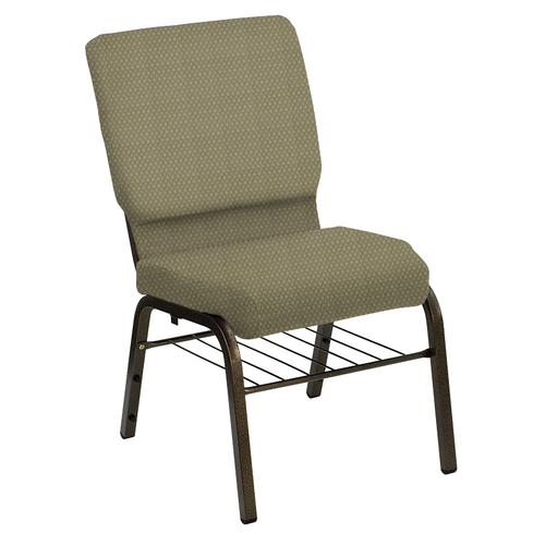 Flash Furniture - HERCULES Series 18.5''W Church Chair in Bedford Olivette Fabric with Book Rack - Gold Vein Frame