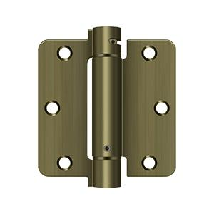 "3-1/2"" x 3-1/2"" x 1/4"" Spring Hinge - Antique Brass"