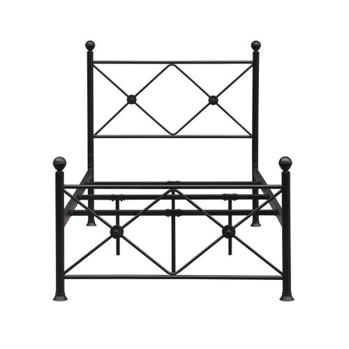 X Metal Twin Bed in Black, All-In-One