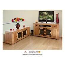 "62"" TV-Console w/2 Glass doors & 2 Solid wood doors, 2 Drawers,1 Landscape glass door"