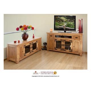 "See Details - 62"" TV-Console w/2 Glass doors & 2 Solid wood doors, 2 Drawers,1 Landscape glass door"