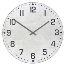MATTE WHITE  36in w X 36in ht X 2in d  Metal and Wood Industrial Wall Clock with Chalk White Finis