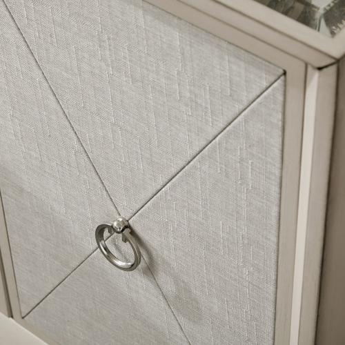 Two Door Mirror Top Chest in Linen & Cream