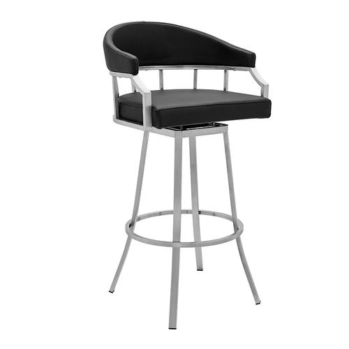 """Valerie 30"""" Bar Height Swivel Barstool with Brushed Stainless Steel Finish and Black Faux Leather"""