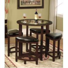 See Details - Solid Wood Glass Top Dining Table w/ 4 Chairs