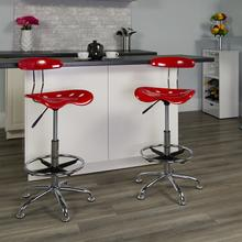 View Product - Vibrant Red and Chrome Drafting Stool with Tractor Seat