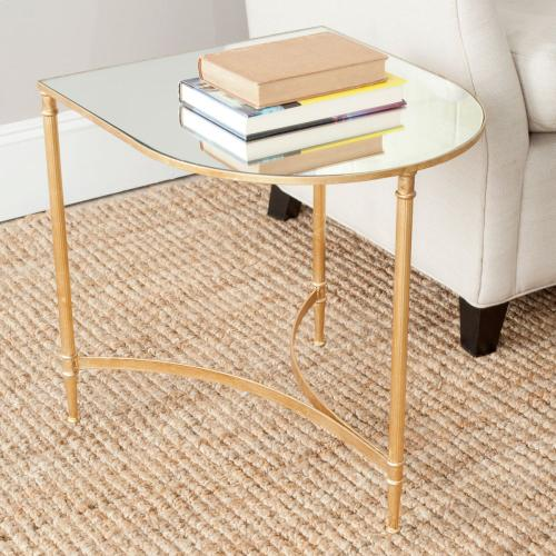 Nevin Mirror Top Gold Accent Table - Gold