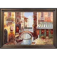 A Bridge Next to The Restaurant Framed Hand Painted Art, Oil on Canvas