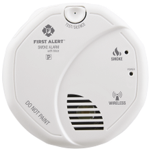 Interconnected Wireless Smoke Alarm with Voice Location, Battery Operated, Pack of Two