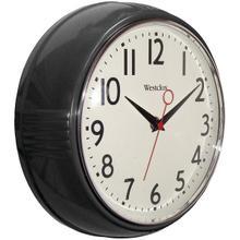 """9.5"""" 1950's Retro Black Case Convex Glass Clock"""