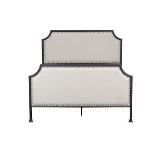 Accentrics Home - Industrial Clipped Corner Upholstered Panel Queen Metal Bed