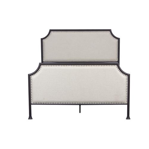 Product Image - Industrial Clipped Corner Upholstered Panel Queen Metal Bed