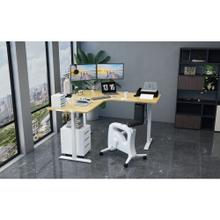 Hanover 73-In. L-Shaped Sit or Stand Electric Height Adjustable Desk with Triple Motor System, Natural and White, HSD0452-NAT2