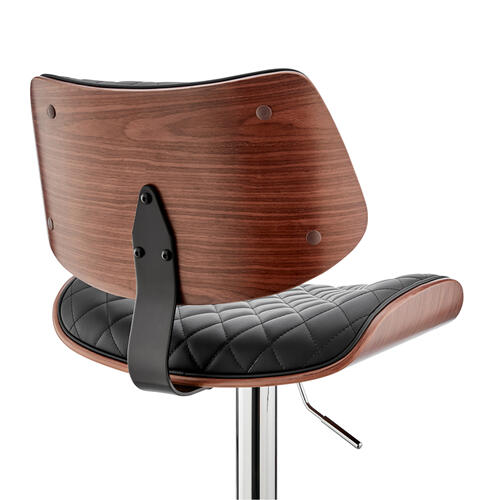 Armen Living - Leland Adjustable Black Faux Leather and Chrome Finish Bar Stool